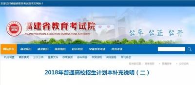 快讯:部分院校修改在闽招生计划专业目录!7所省内院校追加招生计划!