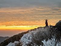 福建柘荣东狮山现雾凇景观 美若仙境
