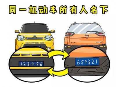 6月1日起个人名下不同车辆可以互换号牌