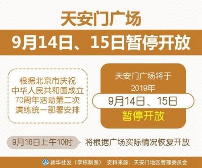 天安门广场9月14日、15日暂停开放