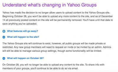 雅虎宣布逐渐关闭群组网站,12月14日后删除所有上传内容