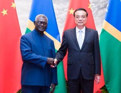 李克强举行仪式欢迎所罗门群岛总理索加瓦雷访华