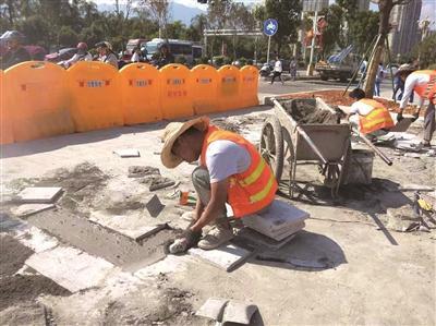 宁德闽东路与和畅路交叉路口优化改造工程已接近尾声