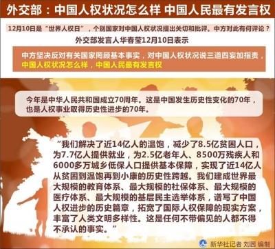 外交部:中国人权状况怎么样 中国人民最有发言权